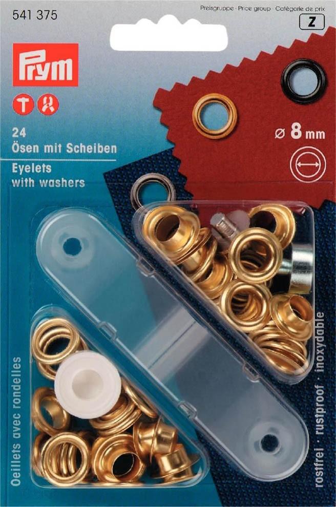 Prym-Ösen-Scheiben-8 mm-Goldfarbig