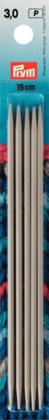 Strumpfstricknadeln, 15cm, 3,0 mm, perlgrau