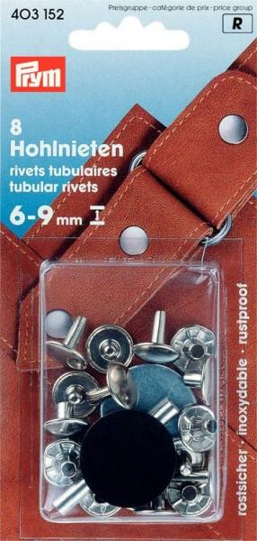 Hohlnieten, 6-9mm, silberfarbig, 8 Stück
