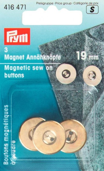 Magnet-Annähknöpfe, 19mm, goldfarbig