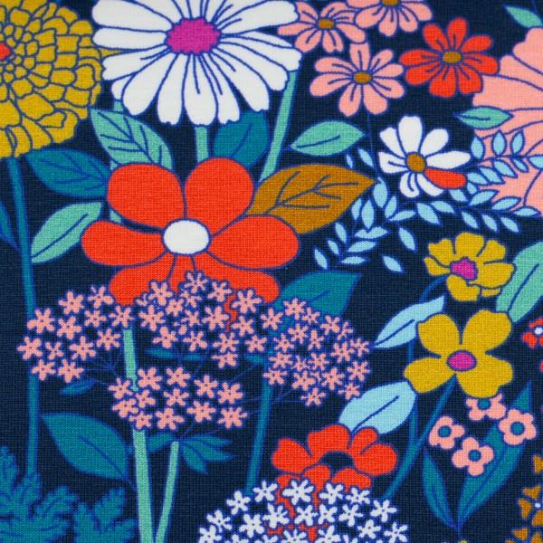 Tropical-Baumwolljersey-Blumen