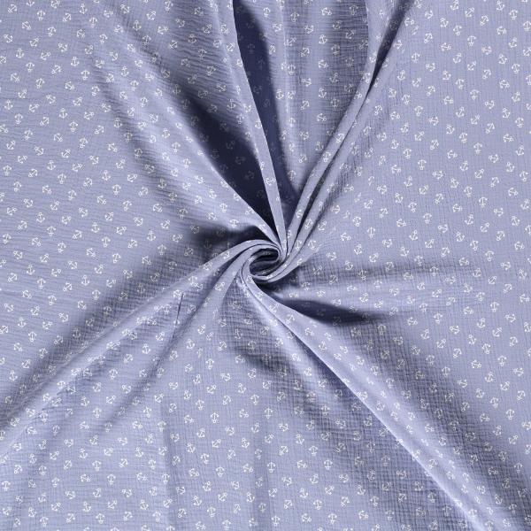 Musselin-Bärbel-Anker-Babyblau