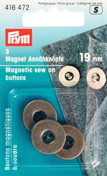 Magnet-Annähknöpfe, 19mm, altmessing