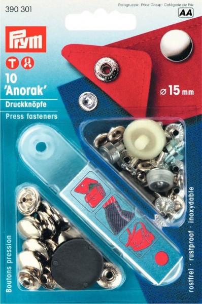 Nähfrei-Druckknöpfe-Annorak-Silber