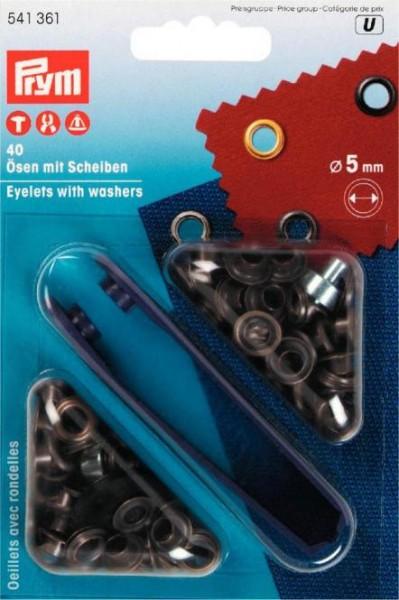 Ösen und Scheiben, 5,0mm, altmessing