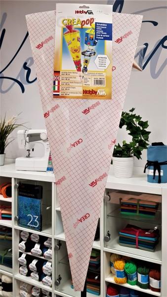 Schultüte-6 eckig-Folien Rohling-selbstklebend-80 cm