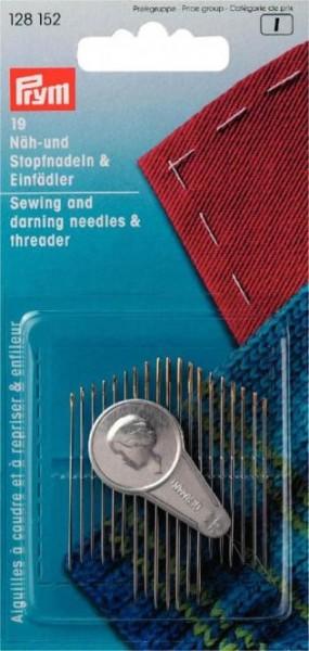 Näh- und Stopfnadel-Sortiment mit Einfädler, 19 Nadeln
