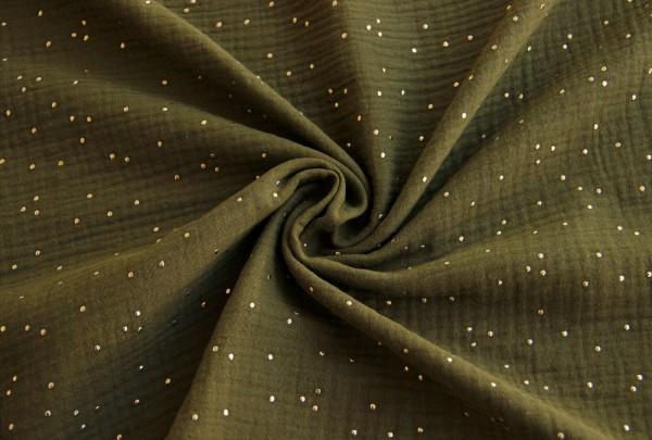 Musselin-Barbara-Goldpunkte-Khaki