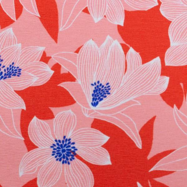 Tropical-Baumwolljersey-Blüten-Rosa