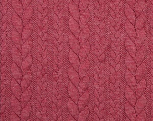 Zopfstrick-Jaquard-Pastel Rot