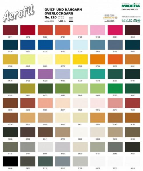 Madeira-Aerofil-No.120-1000 Meter Spulen-80 Farben