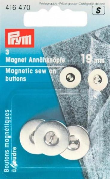 Magnet-Annähknöpfe, 19mm, silberfarbig