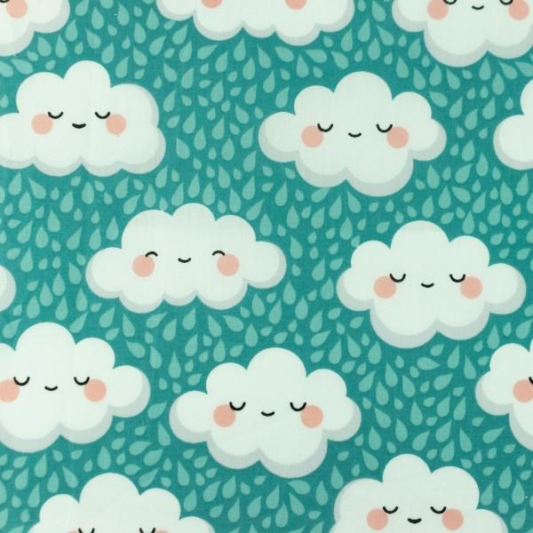 Baumwolle-Glückliche Wolken-Mint