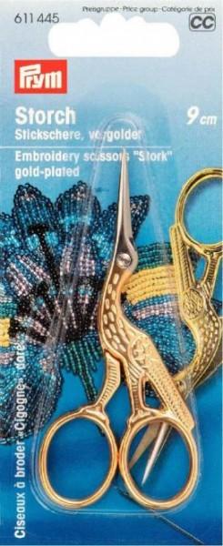 Stickschere Storch 9cm goldfarben