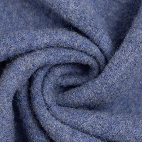 Walkloden-Naomi-Melange-Walkstoff-100 % Schurwolle-Blau