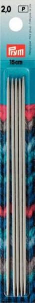 Strumpfstricknadeln, 15cm, 2,00mm, perlgrau