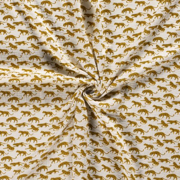 Musselin-Leopard-Grauweiss