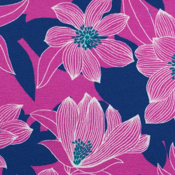 Tropical-Baumwolljersey-Blüten-Lila