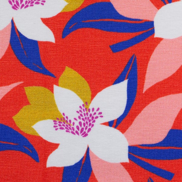 Tropical-Baumwolljersey-Blüten-Rot