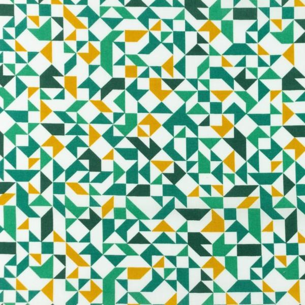 Baumwolle-Geometrisch-Grün