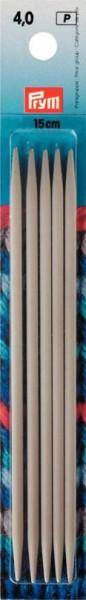 Strumpfstricknadeln, 15cm, 4 mm, perlgrau