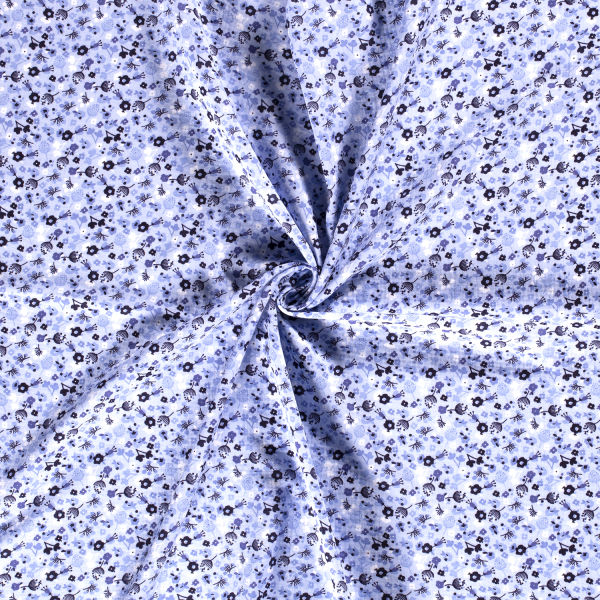 Musselin-Bärbel-Große Blumen-Babyblau