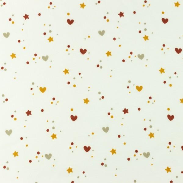 Jersey-Sterne und Herzen-Ziegelrot